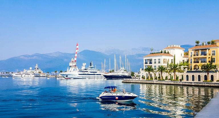 Port of resort town Tivat in Montenegro.