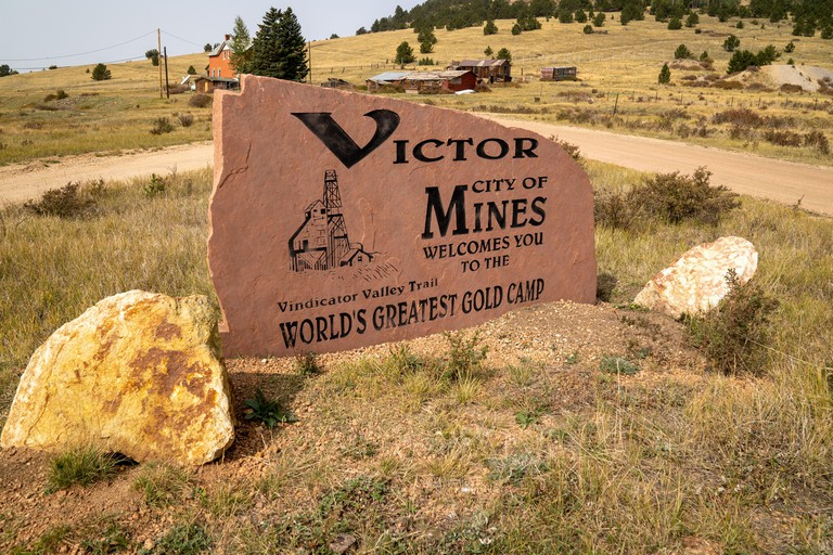 Victor, Colorado - September 17, 2020: Sign for Victor, the City of Mines and the Vindicator Valley Trail in the gold mining camp town