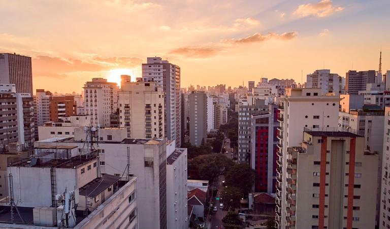 Buildings in the Bela Vista neighborhood at sunset. Near to Avenida Paulista, Sao Paulo city, Brazil.