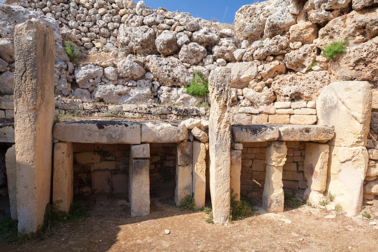 Ggantija ruins, it is a megalithic temple complex from the Neolithic on the Mediterranean island of Gozo. Malta