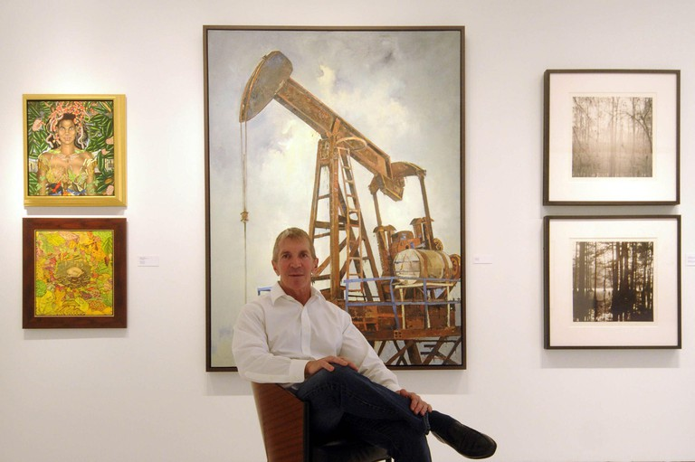 2F0JD0M Arthur Roger, owner of the New Orleans, Louisiana, gallery that bears his name, has a showcase of works created by artists before the oil spill changed the landscape but the gallery opened quietly, without the reception that traditionally accompanies new