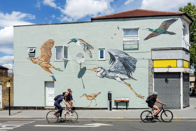 Graffiti with wild birds on a wall of a building in Walthamstow, London England United Kingdom UK