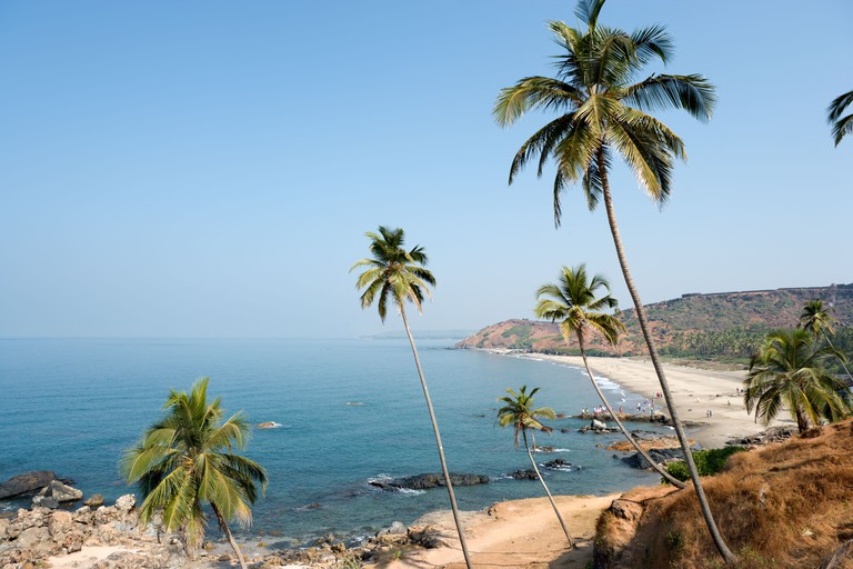 Vagator Beach with Chapora Fort behind, North Goa, Goa, India. Image shot 02/2008. Exact date unknown.