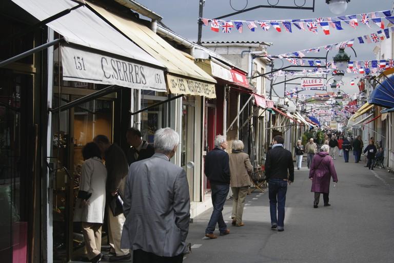 Marche Biron flea market and antiques in the Saint Ouen district Paris France