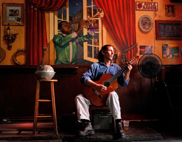 Chris Craig solos during a afternoon gig at the Apple Barrel on Frenchmen Street in New Orleans, Lousiana. (Photo by David Grunfeld/MCT/Sipa USA)