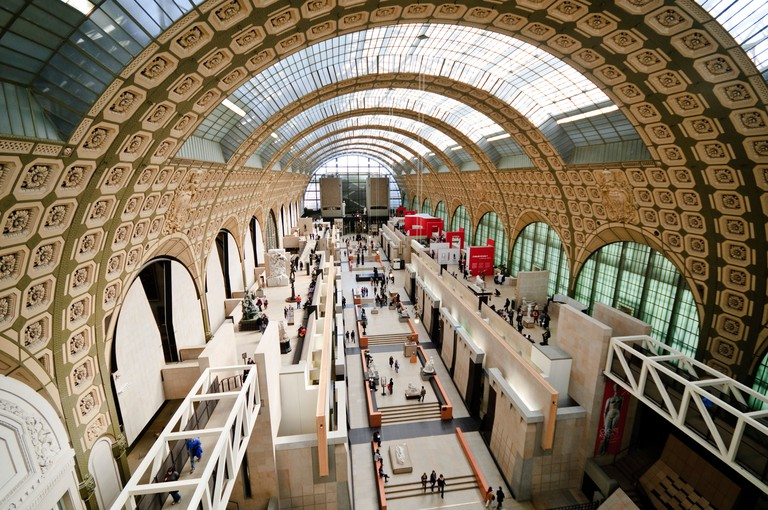 PARIS, France - Main hall of Musee d'Orsay, formerly a train station (Gare d'Orsay) and now an art gallery dedicated to French art of the 1848 to 1915 period. Includes extension collection of masterpieces by painters such as Renoir, Cezanne, Monet, and De