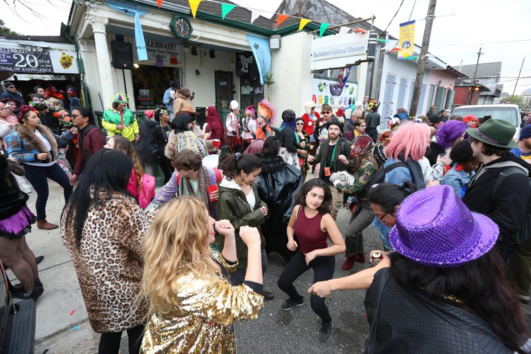 New Orleans, Louisiana, USA. 4th March, 2019. Masqueraders with the Krewe of Red Beans party at the Backstreet Cultural Museum during Mardi Gras on March 4, 2019 in New Orleans, Louisiana, USA. ( Credit: SEAN DRAKES/Alamy Live News