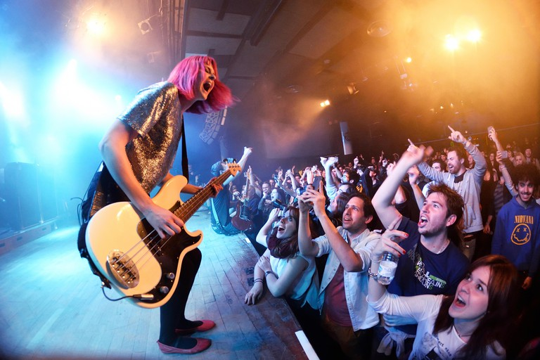 BARCELONA - MAR 18: The Subways (rock band) performs at Bikini stage on March 18, 2015 in Barcelona, Spain.