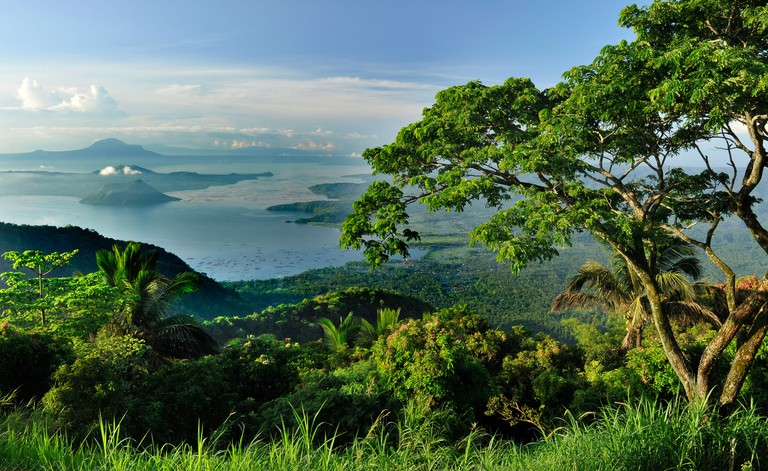 View of Taal Lake and volcano in Tagaytay, Philippines, Southeast Asia, Asia