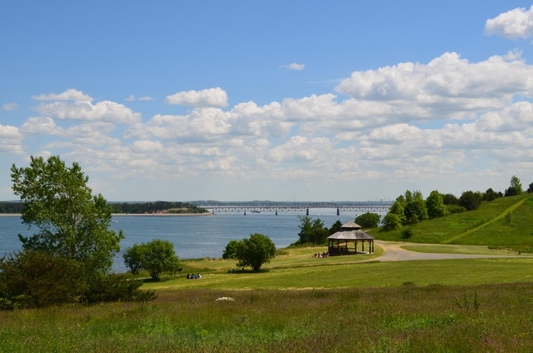 Amazing views of hiking paths and sunny Spectacle Island in Boston Harbor.