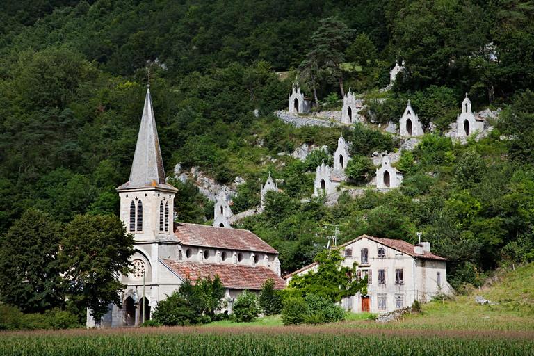 Eglise de Raynaude and Chemin de Croix department Ariege France