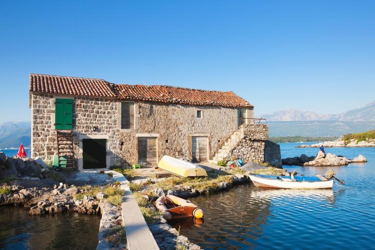 House on island, Bjelila, Lustica, Boka Kotorska, Montenegro