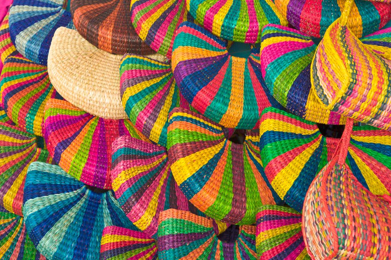 Handmade bags on sale in the Indian Market, Miraflores, Lima, Peru