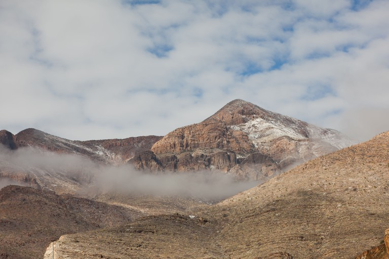 Snow on the top of the desert mountains of El Paso, Texas in North America