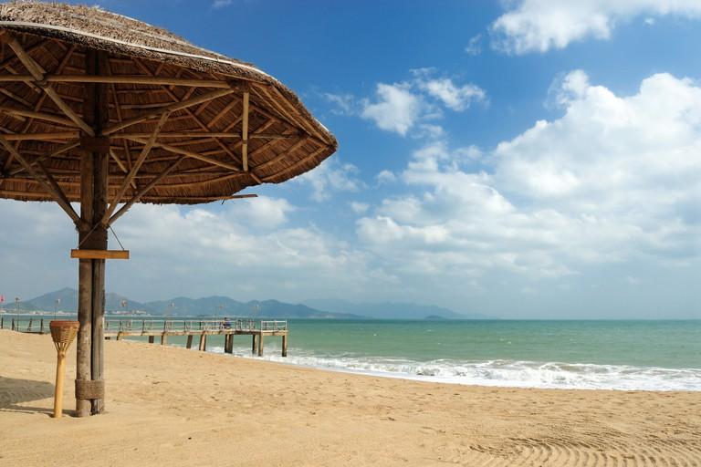 Asia, Vietnam, Nha Trang. The Resort Ana Mandara bar at Nha Trang's beach promenade Tran Phu....