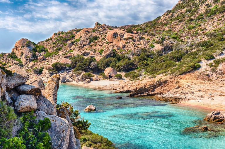 Scenic view over the picturesque Cala Corsara in the island of Spargi, one of the highlights of the Maddalena Archipelago, Sardinia, Italy