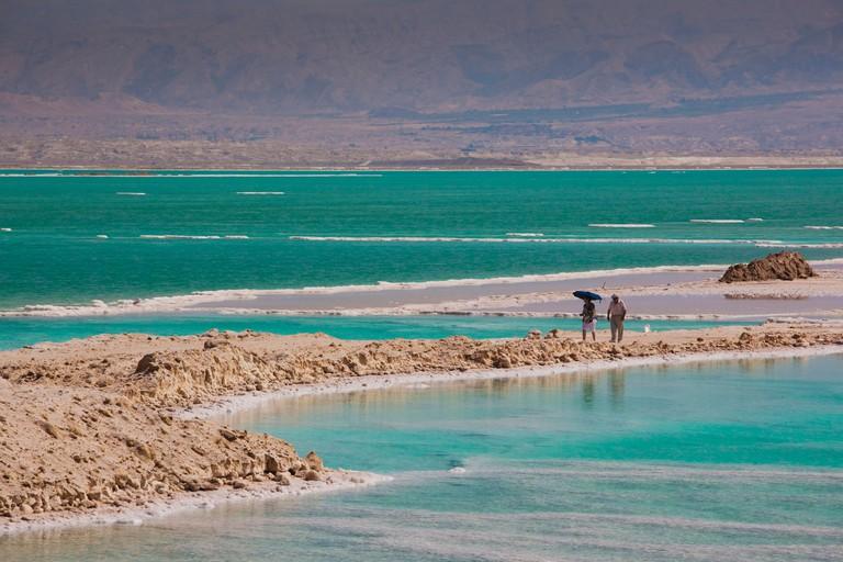 Israel, Dead Sea, Ein Bokek, salt deposits by the Dead Sea