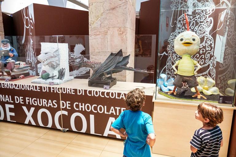 Barcelona Spain Catalonia Catalunya El Born historic district Ciutat Vella Museu de la Xocolata Museum of Chocolate inside exhibit chocolate sculpture