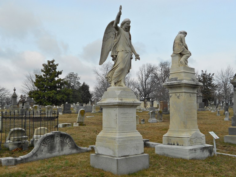 Grave in the Congressional Cemetery in Washington, DC, a National Historic Landmark. Elizabeth (left) and Mary Ann Hall (right)