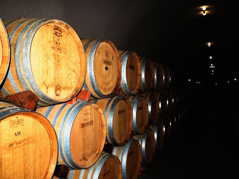 Truchard Vineyards wine cave.