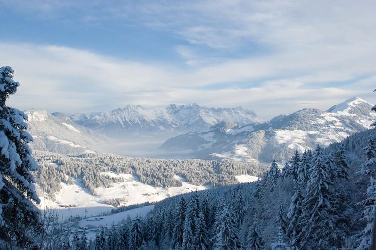 Niederau, view over the mountain landscape in Tyrol Wildschoenau