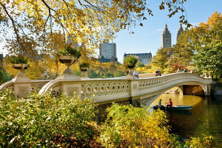 The cast iron Bow Bridge by Calvert Vaux, Central Park, New York City