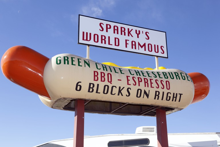 Sparkys enormous fibre glass hot dog billboard in Hatch New Mexico
