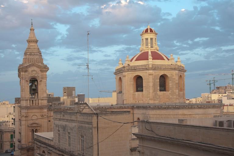 Rooftop view of Stella Maris parish church, Sliema, Malta.. Image shot 2011. Exact date unknown.