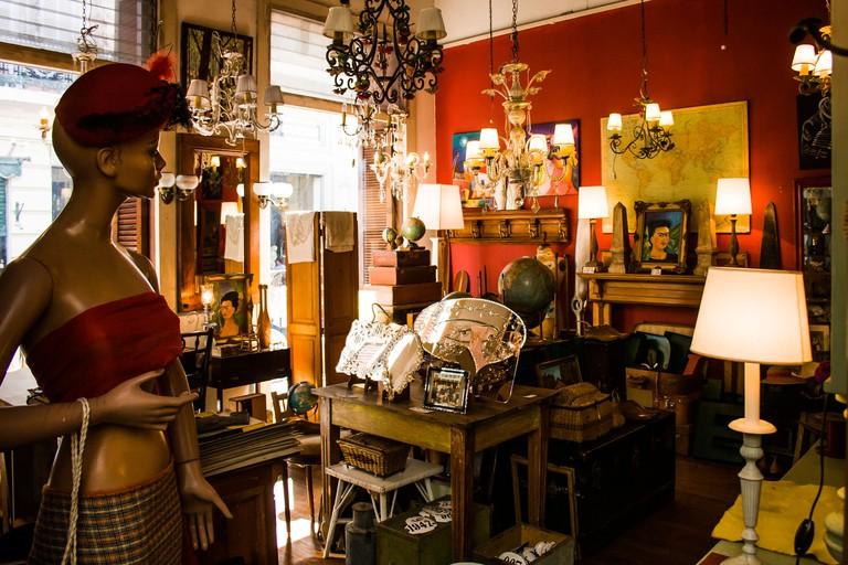 Antique dealer shop in San Telmo neighborhood. Buenos Aires, Argentina.