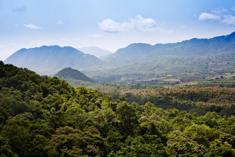 Landscape with mountains in the background, Ananthagiri Hills, Araku Valley, Visakhapatnam, Andhra Pradesh, India
