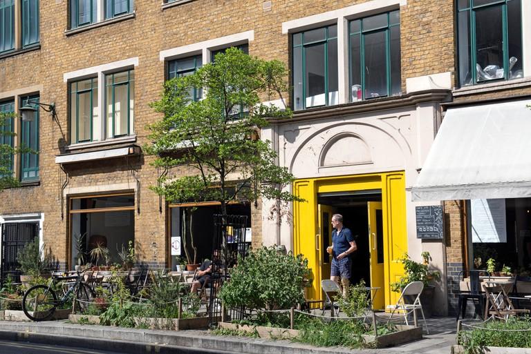 People outside Cafe Oto, Dalston London Borugh of Hackney
