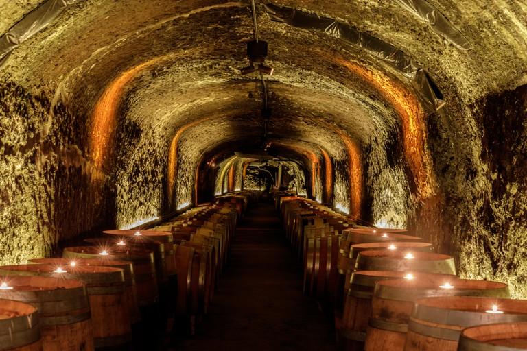 Napa, California - April 27, 2019: Del Dotto Historic Winery Caves in Napa Valley.