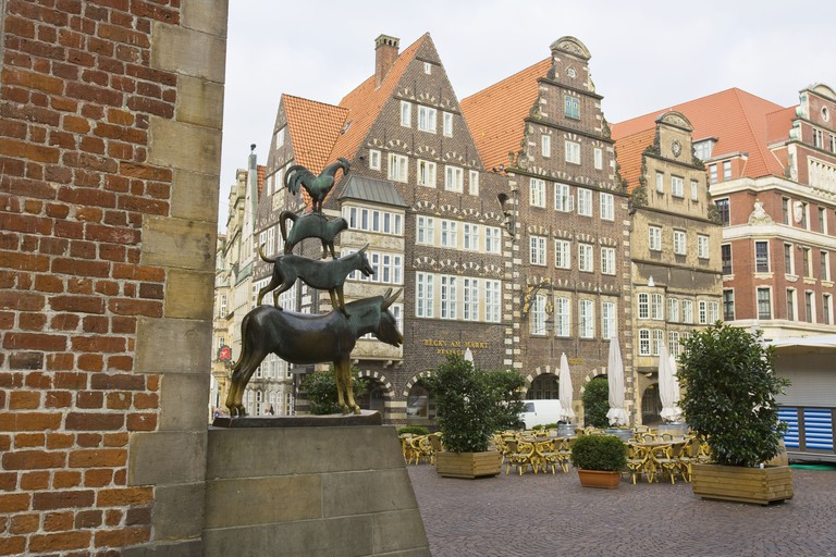 Sculpture of the Bremen Town Musicians at the Bremen Town Hall, Bremen, Germany