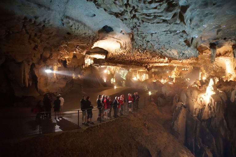 France, Midi-Pyrenees - Grotte de Betharram, caverns near Lourdes. Tour group.