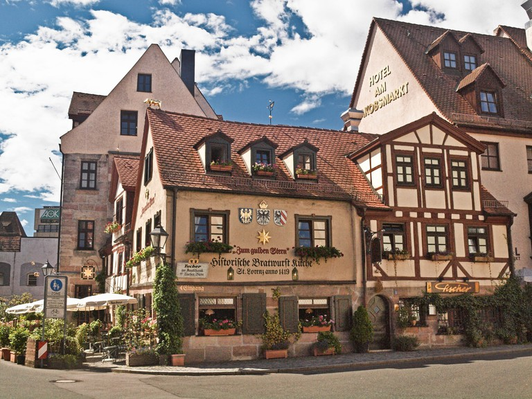 Originally built in 1375 Zum Gulden Stern claims to be the oldest bratwurst restaurant in the world Nuremberg, Germany