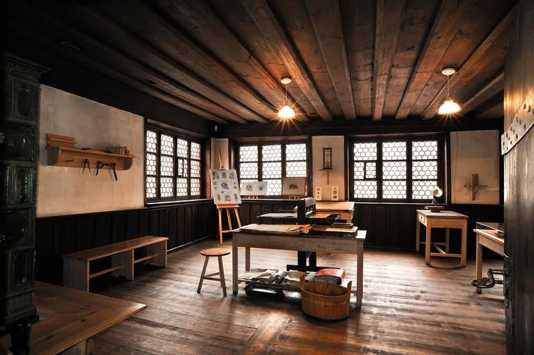 Re-creation of Albrecht Duerer's workshop, Albrecht Duerer House, historic center, Nuremberg, Middle Franconia, Bavaria, Germany