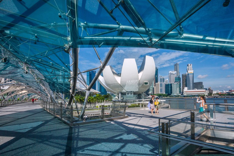 Singapore, view of the Art Science Museum, Singapore skyline and Marina Bay from Helix Bridge