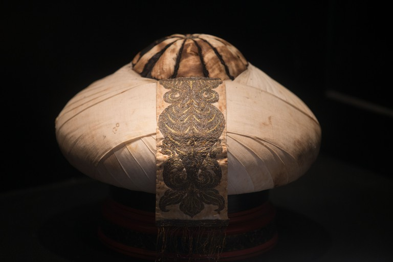 Turban worn with royal attire, National Museum in Male Maldives
