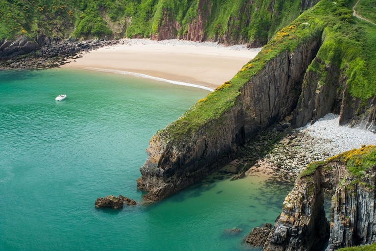 Skrinkle Haven and Church Doors cove in Pembrokeshire, Wales.