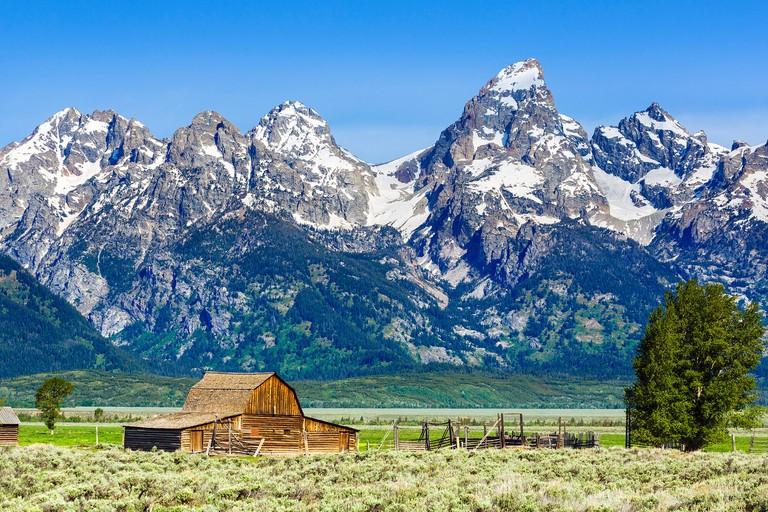 Historic Mormon Row, Grand Teton National Park, Jackson Hole valley, Wyoming, USA