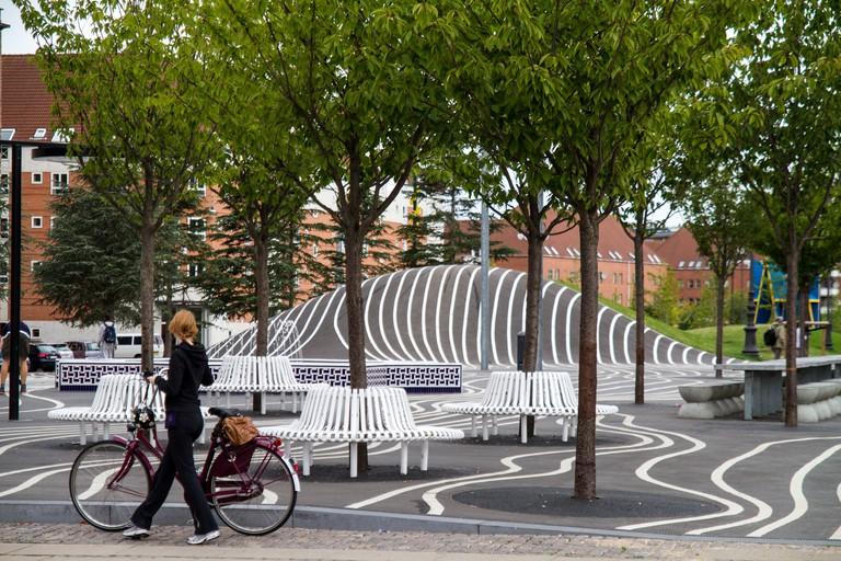 Superkilen is a public park in the Norrebro district of Copenhagen, Denmark.