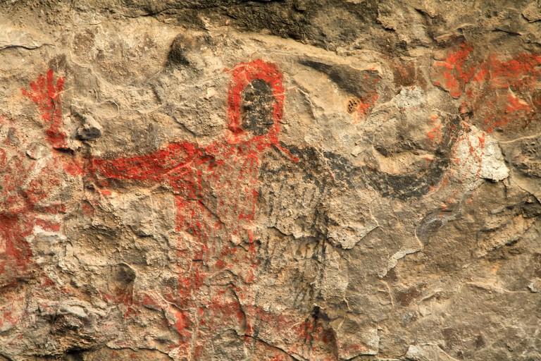 Prehistoric cave paintings, Cueva del Raton, Sierra de San Francisco, near San Ignacio, Baja California Sur, Mexico