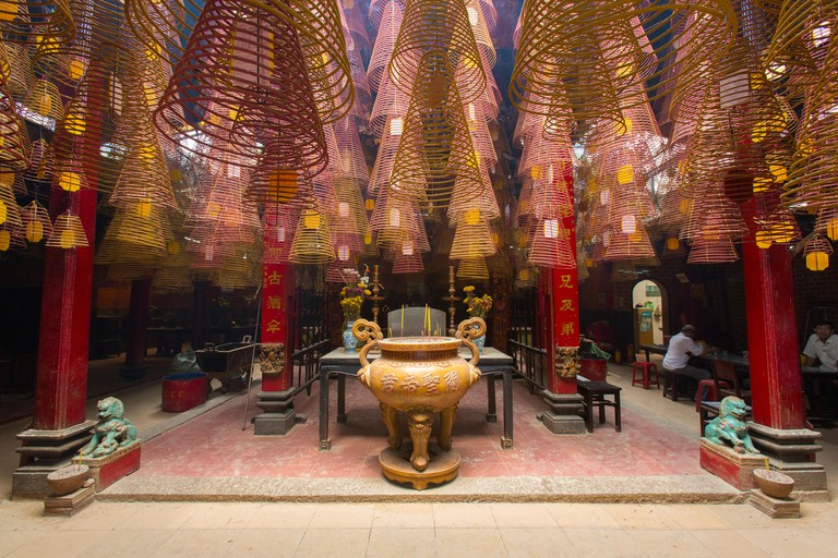 Cantonese Congregation Pagoda with spiral incense in Can Tho Vietnam