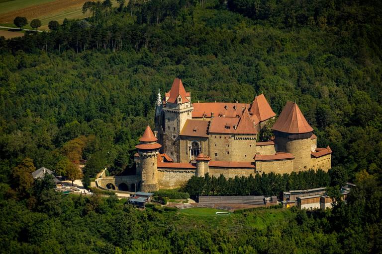 Aerial view, Burg Kreuzenstein medieval castle, Leobendorf, Lower Austria, Austria