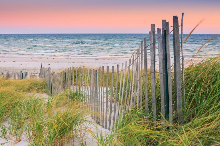 Sand Dune Fences at sunrise over the Atlantic ocean on Cape Cod, Massachusetts