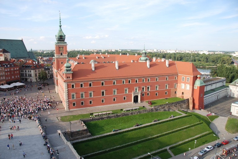 View of reconstructed Royal Castle Warsaw Poland with Vistula River and Praga suburb beyond