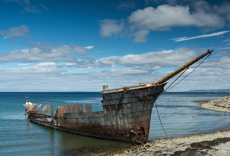 The wreck of the Frigate Lord Lonsdale beached at Punta Arenas, Chile.