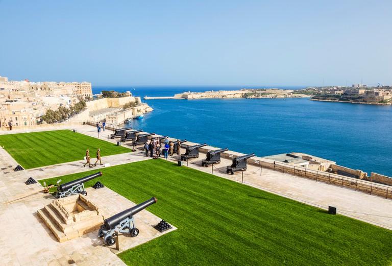 Upper Barrakka Gardens and Saluting Battery overlooking the Grand Harbour Valletta Malta EU Europe