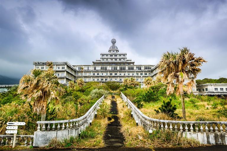Abandoned hotel building ruins on Hachijojima Island, Japan.