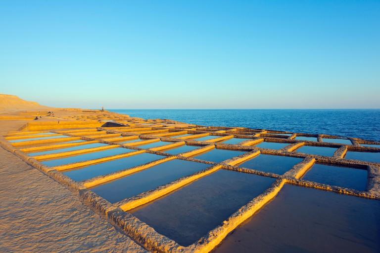 Mediterranean Europe, Malta, Gozo Island, salt pans at Xwejni Bay. Image shot 10/2014. Exact date unknown.